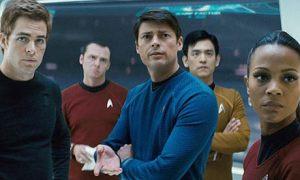 Kirk, Scotty, McCoy, Sulu and Uhura of Star Trek