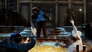Clark Duke, John Cusack, A Bear, Rob Corddry and Craig Robinson in Hot Tub Time Machine