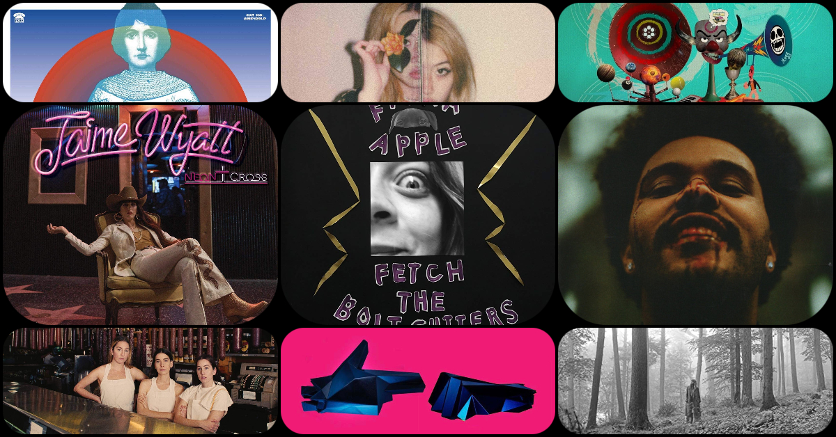 Nine album covers in a collage