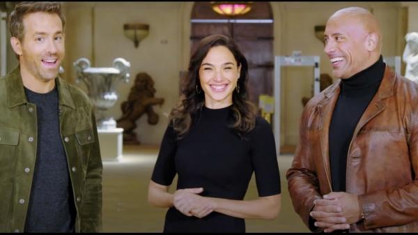 Ryan Reynolds, Gal Gadot & Dwayne Johnson in Red Notice, Courtesy Netflix