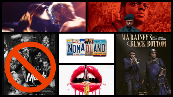 Sound of Metal courtesy Amazon, Mank and Ma Rainey's Black Bottom courtesy Netflix, Nomadland courtesy Searchlight Pictures, Promising Young Woman courtesy Focus Features, Judas & The Black Messiah courtesy Warner Bros.
